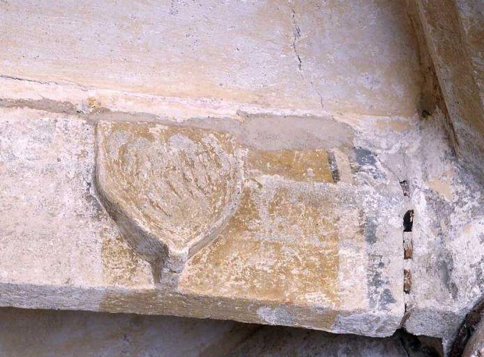 clef de voûte, claveau : ensemble héraldique sculpté du croisillon sud