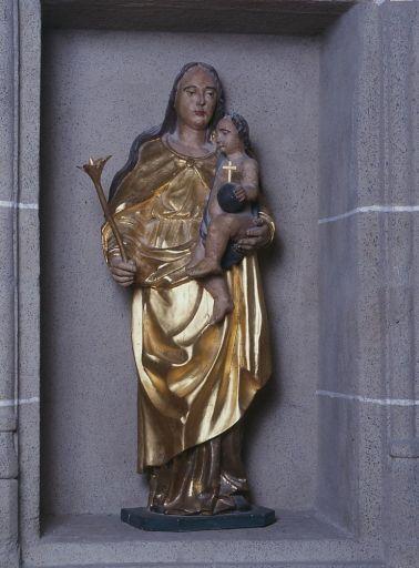 Statue : Vierge à l'Enfant à la fleur