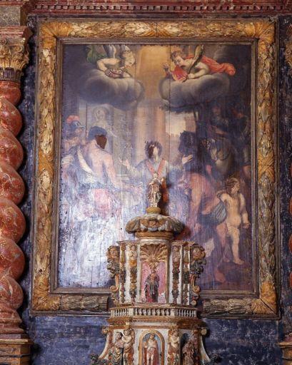 Ensemble du maître-autel (autel, tabernacle, exposition, retable, tableau, 3 statues)