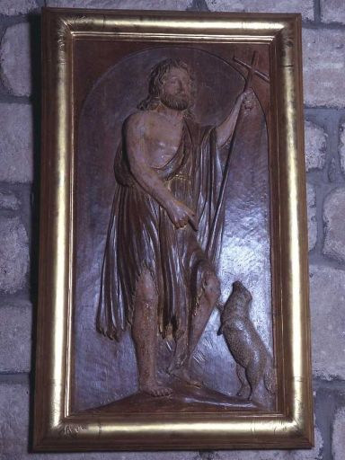 Demi-relief de retable des fonts baptismaux (?) : saint Jean-Baptiste et l'agneau