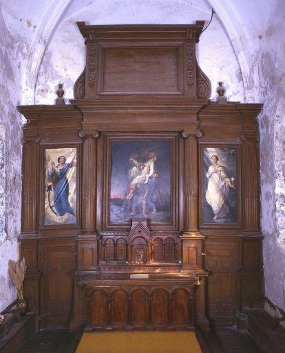 Autel, gradin d'autel, tabernacle à ailes, retable architecturé, tableau d'autel : la Descente de croix, 2 tableaux : la Foi et l'Espérance (maître-autel)