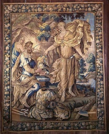 Pièce murale de la première tenture de l'histoire d'Achille : Thétis fait forger les armes d'Achille par Héphaïstos (ensemble de 4 pièces murales appartenant à 2 tentures de l'histoire d'Achille)