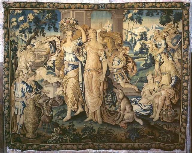 3e pièce murale de la seconde tenture de l'histoire d'Achille : la Mort d'Achille et le Sacrifice de Polyxène (ensemble de 4 pièces murales appartenant à 2 tentures de l'histoire d'Achille)
