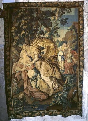 1ère pièce murale de la seconde tenture de l'histoire d'Achille : Achille séduit Déidamie (ensemble de 4 pièces murales appartenant à 2 tentures de l'histoire d'Achille)