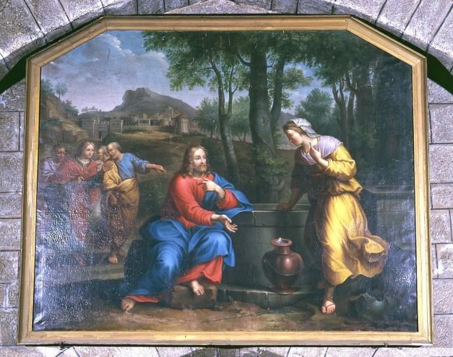 Tableau et cadre : le Christ et la Samaritaine