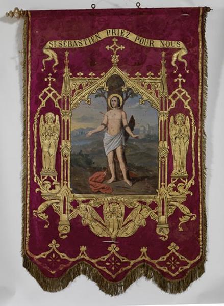 Bannière de procession de saint Sébastien et saint Roch (n°1)