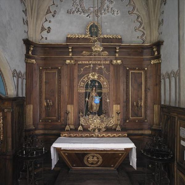 Autel de la Vierge (autel privilégié) : autel, gradin et retable architecturé à niche