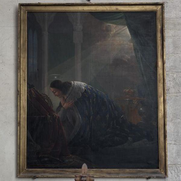 Tableau : saint Louis en prière devant les reliques de la Passion