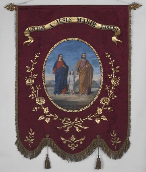 Bannière de procession de la Sainte Famille et de l'ange gardien