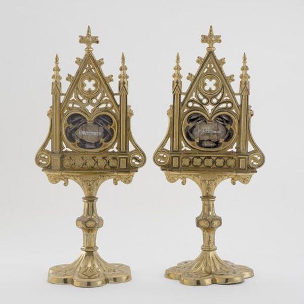 Ensemble de 2 reliquaires des saints Amant, Séverin, François de Sales et autres saints