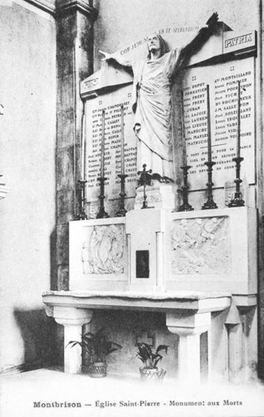 Autel, tabernacle, retable (autel secondaire, autel table) des morts de la guerre de 1914-1918