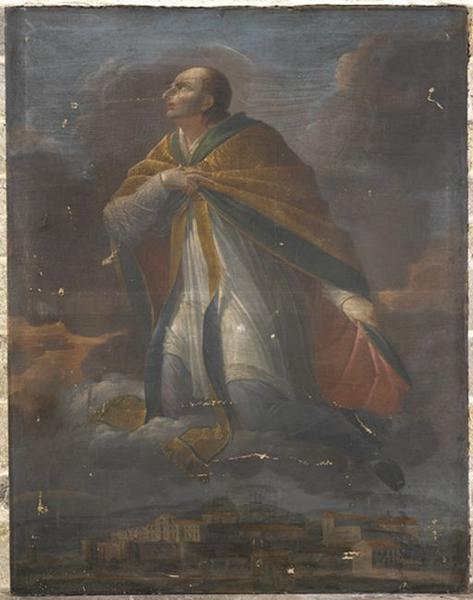 Tableau : saint Aubrin protégeant la ville de Montbrison
