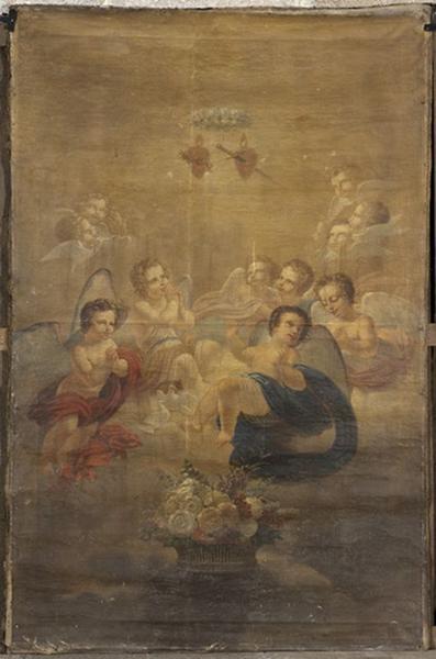 Tableau : l'adoration du Sacré-Coeur et du coeur transpercé de la Vierge