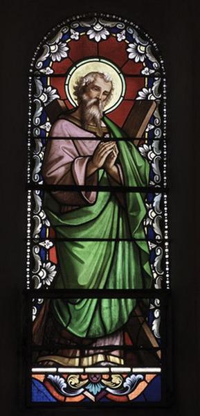 Ensemble de 2 verrières à personnages (baies 5, 6) : saint André, sainte Elisabeth de Hongrie (?)