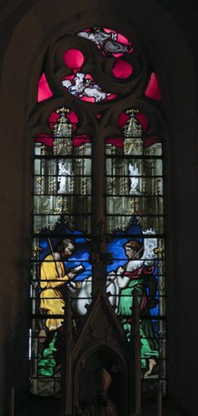 Verrière historiée (baie 3) : saint Isidore et l'ange