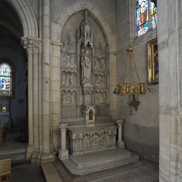 Autel, tabernacle, retable de la Vierge (autel secondaire, autel tombeau, tabernacle architecturé, retable architecturé)