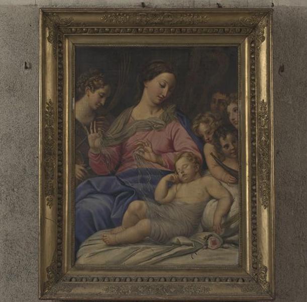 Tableau : Le sommeil de l'Enfant Jésus avec des anges musiciens