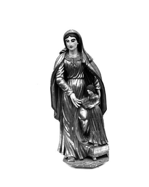 Groupe sculpté : Education de la Vierge, statue : sainte Catherine d'Alexandrie