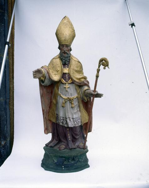 2 statues et socles (petite nature) : saint Nicolas de Myre, saint Etienne