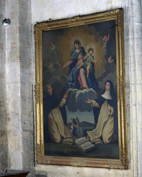 Tableau : don du Rosaire à Saint-Dominique et Sainte-Catherine de Sienne