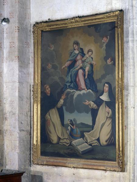 tableau : don du Rosaire à Saint-Dominique et Sainte-Catherine de Sienne