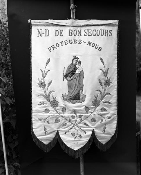 Bannière de procession : Vierge à l'Enfant dite Notre-Dame de Bon secours, saint Ferréol