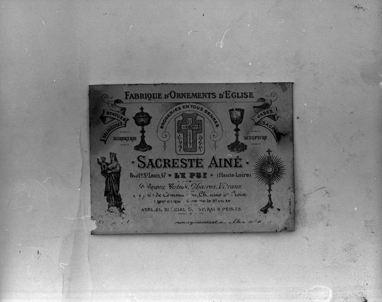 Le mobilier de l'église paroissiale Saint-Pierre-ès-Liens (liste supplémentaire)