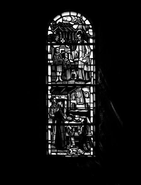 4 verrières historiées : les missions, fondation de la paroisse, fondation de la commune, Charité (baies 3, 5 à 7)