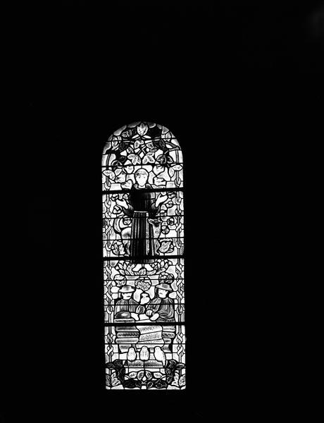 Verrière historiée : saint François d'Assise, les marchands de toile (baie 2)