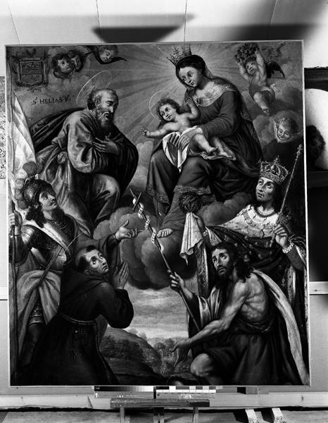 Tableau : la Sainte Famille adorée par saint Louis, saint Jean-Baptiste, saint Maurice et saint François d'Assise