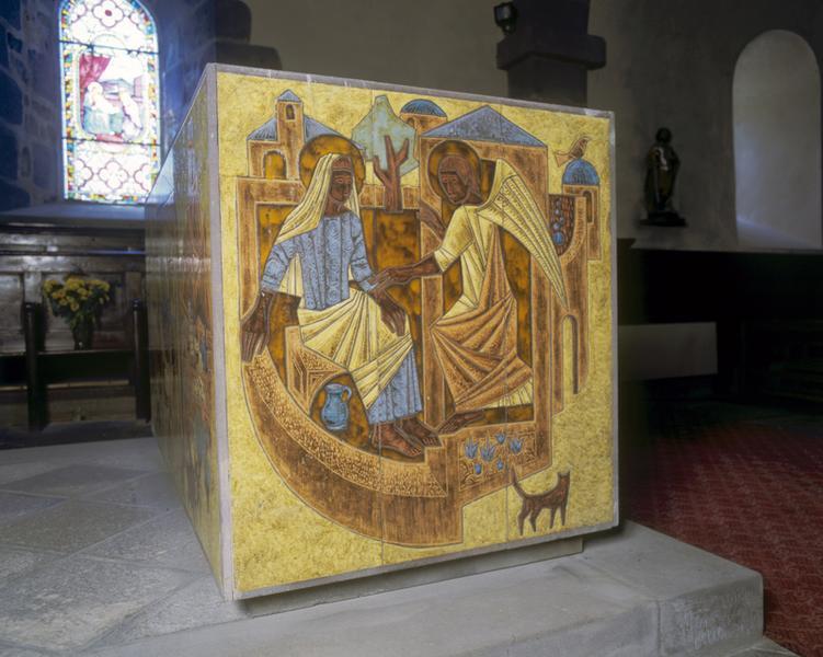 autel ; tabernacle: face gauche, annonciation