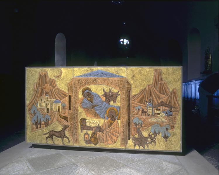 autel ; tabernacle: face postérieure, nativité