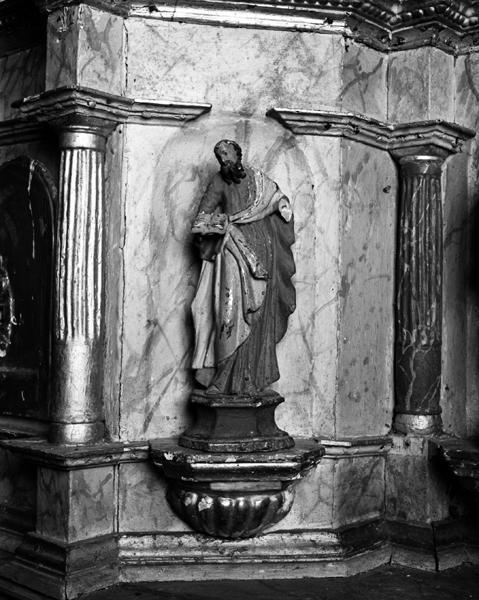 Statues du tabernacle : La Vierge à l'Enfant, saint évêque, saint Paul