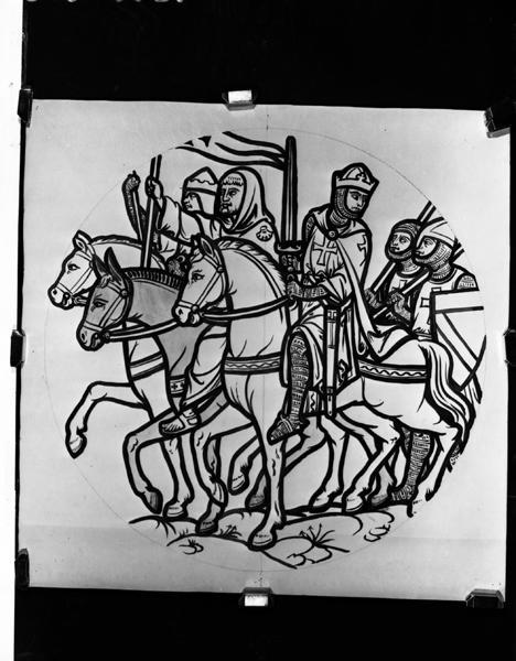 verrière : Louis II de Bourbon partant combattre les Anglais en Guyenne, Prisonniers déposant leurs fers devant Notre-Dame d'Orcival, Départ pour la croisade.