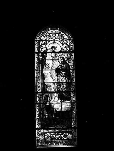 14 verrières de la travée droite du choeur, de la nef et des chapelles du narthex