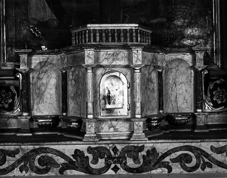 Statues du tabernacle : La Vierge à l'Enfant, Saint évêque, Saint Paul, Sainte