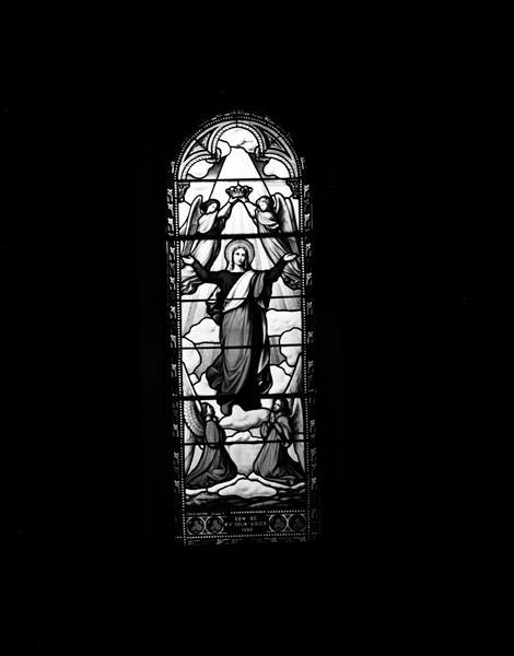 Ensemble de 5 verrières : Christ du Sacré-Coeur (baie 0), saint Michel terrassant le démon (baie 1), saint François-Xavier (baie 2), la sainte Famille (baie 3), l'Assomption (baie 4)