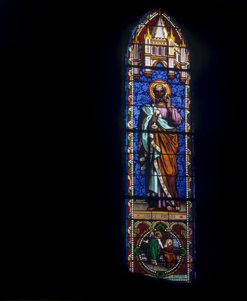 ensemble de 13 verrières : Bon Pasteur (baie0), Saint Pierre (baie1), Saint Jean-Baptiste (baie 2), Saint Joseph (baie 3), Vierge à l'Enfant (baie 4), Sainte Marie-Madeleine (baie 5) Sainte Anne (baie 6), Saint Jean (baie 7), Saint Martin (baie 8), Saint Michel (baie 9), Saint François-Xavier (baie 10), Saint Louis (baie 11), Sainte Clotilde (baie 12)