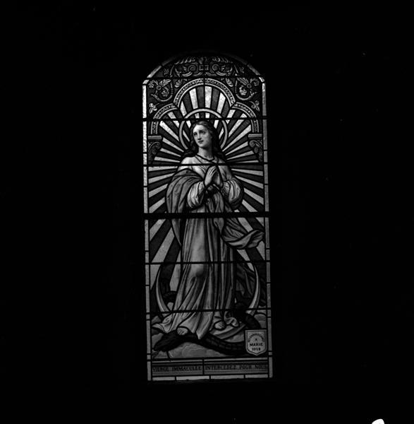 Ensemble de 7 verrières : saint Roch, sainte Thérèse de l'Enfant Jésus, saint Louis, Immaculée Conception, saint Joseph, saint Michel, Annonciation