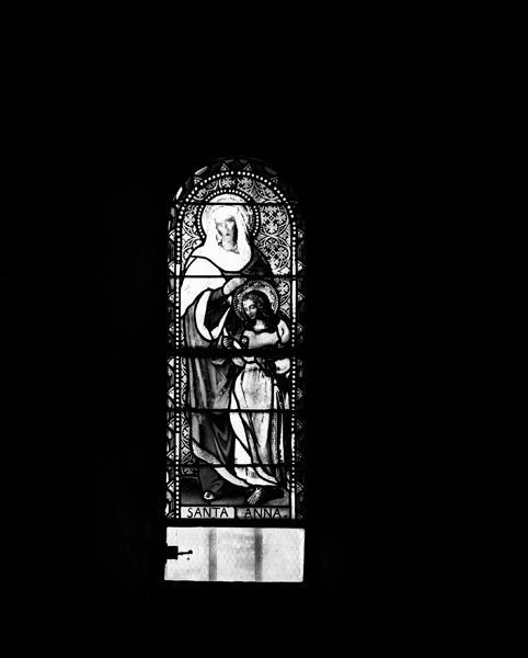 Ensemble de 11 verrières : baie 5 : Education de la Vierge
