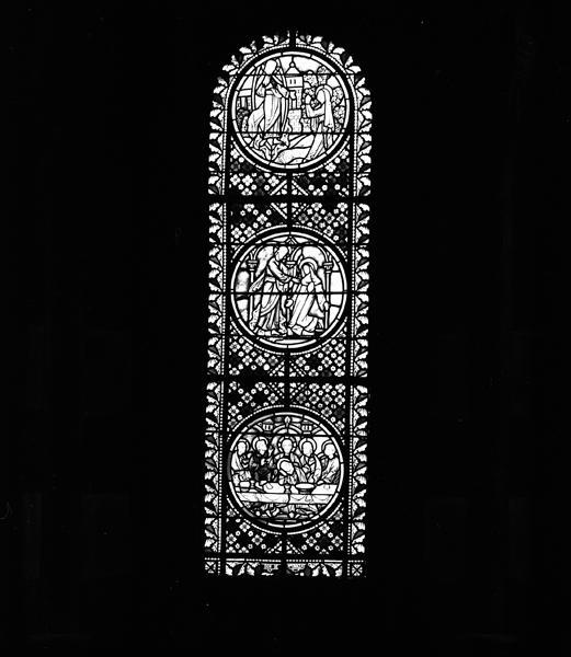 Ensemble de trois verrières de l'absidiole axiale : Sacré-Coeur, verrières ornementales (baie 0, 1 et 2)