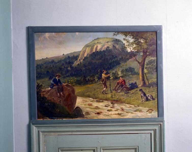 Ensemble de 7 tableaux de paysages d'Auvergne : le Capucin (n°1), la Cascade du Rossignolet (n°2), Saint-Nectaire (n°3), Murol (n°4), Le lac Chambon (n°5), Le Sancy (n°6), Le lac de Guéry (n°7)