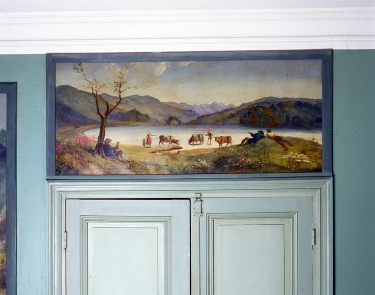 tableaux (7) paysages d'Auvergne : Le Capucin (n°1), cascade du Rossignolet (n°2), Saint-Nectaire (n°3), Murol (n°4), lac Chambon (n°5), puy de Sancy (n°6), lac de Guéry (n°7)