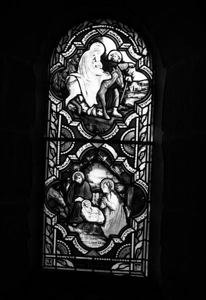 ensemble de 4 verrières décoratives (baies 10, 11, 12, 13) et de 2 verrières historiées : Nativité, Fuite en Egypte, Atelier de Nazareth, Mort de saint Joseph (n°5 et 7)