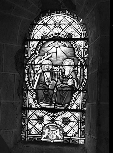 ensemble de 3 verrières à personnages : Sainte-Trinité, Immaculée Conception, Christ du Sacré-Coeur (n°0, 1, 2)