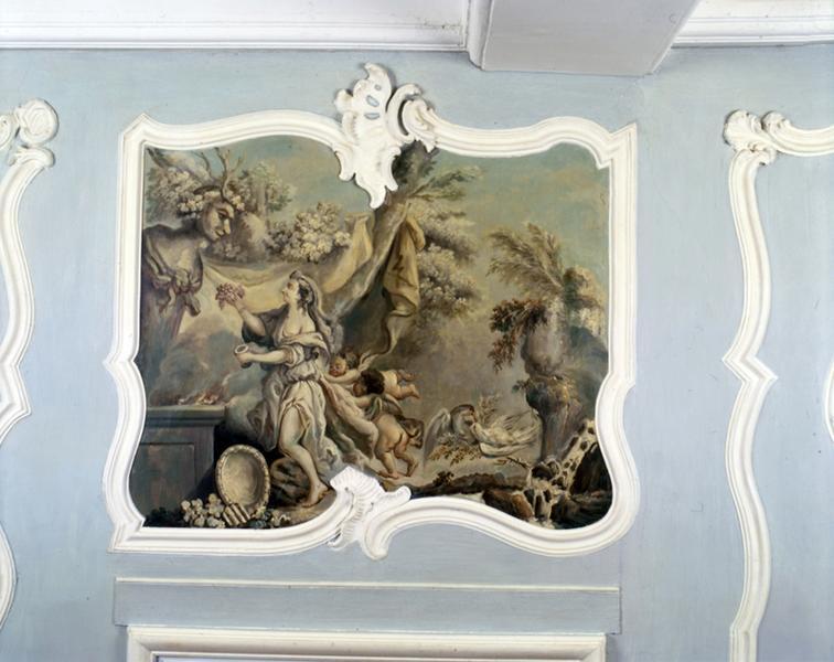 Ensemble du décor de l'ancienne salle à manger (actuel grand salon) : lambris de hauteur, gypseries