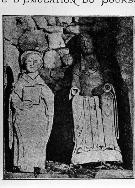 statues (2) disparues du prieuré Saint-Maurice : Vierge à l'Enfant et saint Cyriaque (?)