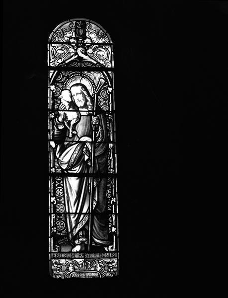 Ensemble de 11 verrières : Bon Pasteur, saint Didier, saint Joseph, saint Jean-Baptiste, sainte Anne, Assomption, saint Michel, saint Gabriel, saint Etienne, saint Louis