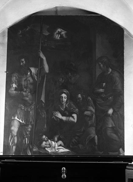 tableau : La Nativité de l'Enfant Jésus avec l'adoration des Bergers entre saint Jean Evangéliste et saint Longin