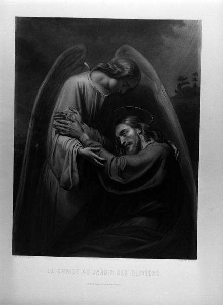 Ensemble de deux estampes : Le Christ aux jardin des oliviers